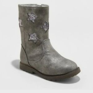 Other - Cute Pewter Boots With Glitter Stars